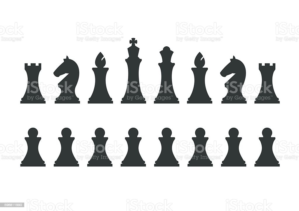 Set chess pieces isolated on white background - Royalty-free Abstrato arte vetorial