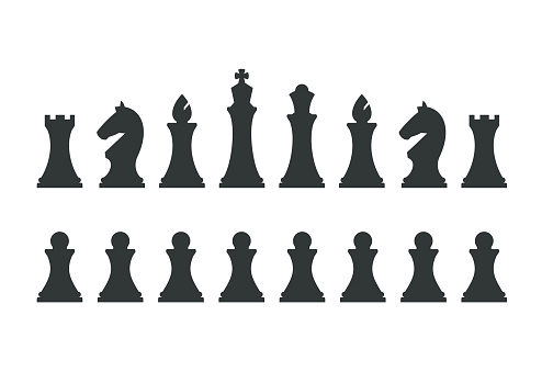 Set chess pieces isolated on white background