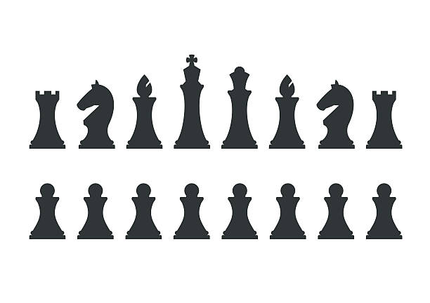 ilustrações de stock, clip art, desenhos animados e ícones de set chess pieces isolated on white background - xadrez