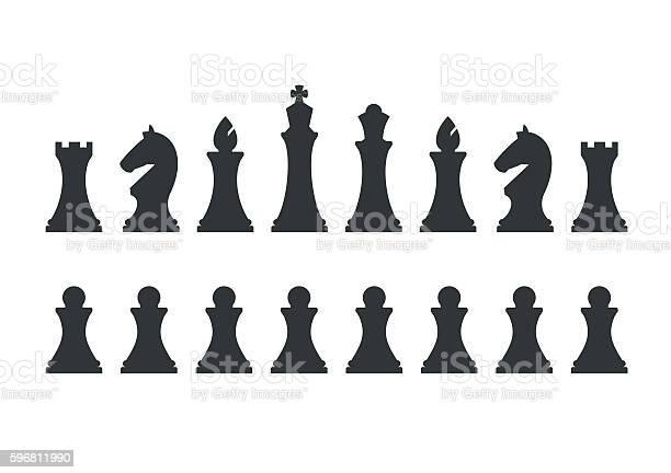 Set Chess Pieces Isolated On White Background - Arte vetorial de stock e mais imagens de Abstrato