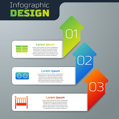 Set Chest of drawers, Electrical outlet and Baby crib cradle bed. Business infographic template. Vector