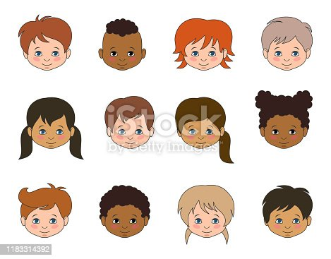 Set Children Faces of Different Races, Multicultural Kids Heads - Illustration Vector
