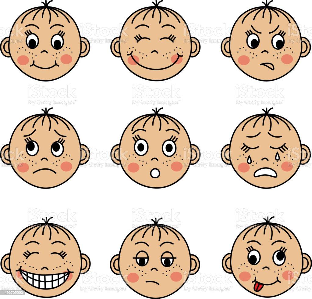 die kinder gesichter mit verschiedenen emotionen stock