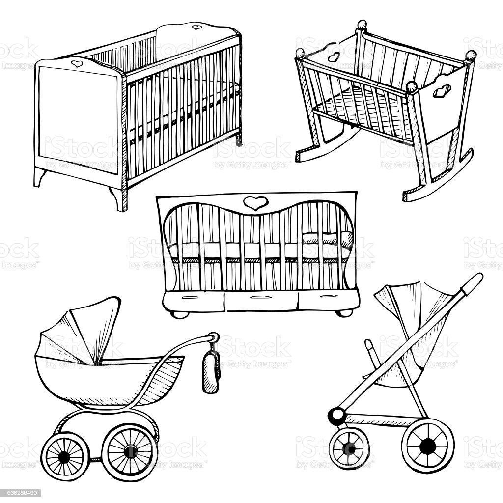 Set children's furniture. Sketch different for child cots and prams vector art illustration