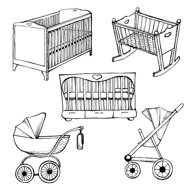 Set children's furniture. Sketch different for child cots and prams Set children's furniture. Vector illustration. Sketch different for child cots and prams baby carriage stock illustrations