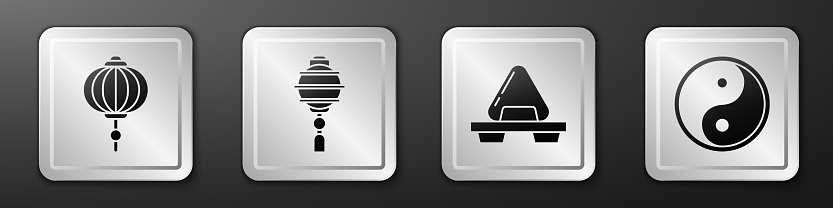 Set Chinese paper lantern, Chinese paper lantern, Sushi on cutting board and Yin Yang icon. Silver square button. Vector