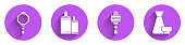 Set Chinese paper lantern, Firework, Chinese paper lantern and Chinese tea ceremony icon with long shadow. Vector