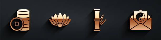 ilustraciones, imágenes clip art, dibujos animados e iconos de stock de establecer moneda yuan chino, flor de loto, bambú y yin yang e icono de sobre con sombra larga. vector - yin yang symbol