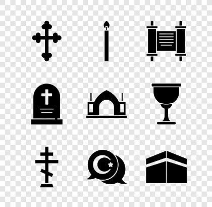 Set Christian cross, Burning candle, Decree, paper, parchment, scroll, Star crescent, Kaaba mosque, Tombstone with and Hindu spiritual temple icon. Vector