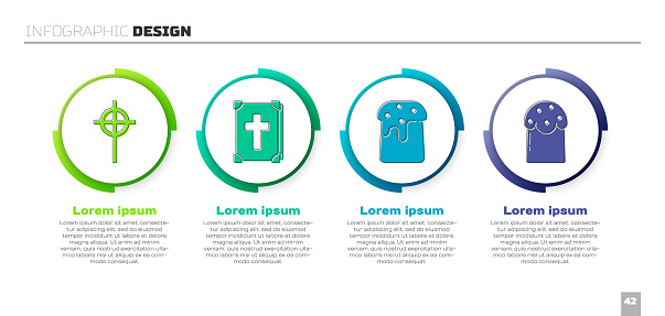 Set Christian cross, Holy bible book, Easter cake and Easter cake. Business infographic template. Vector