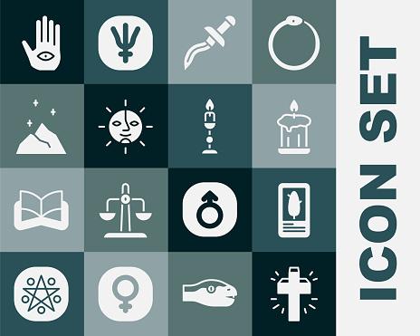 Set Christian cross, Tarot cards, Burning candle, Dagger, Sun, Magic powder, Hamsa hand and icon. Vector