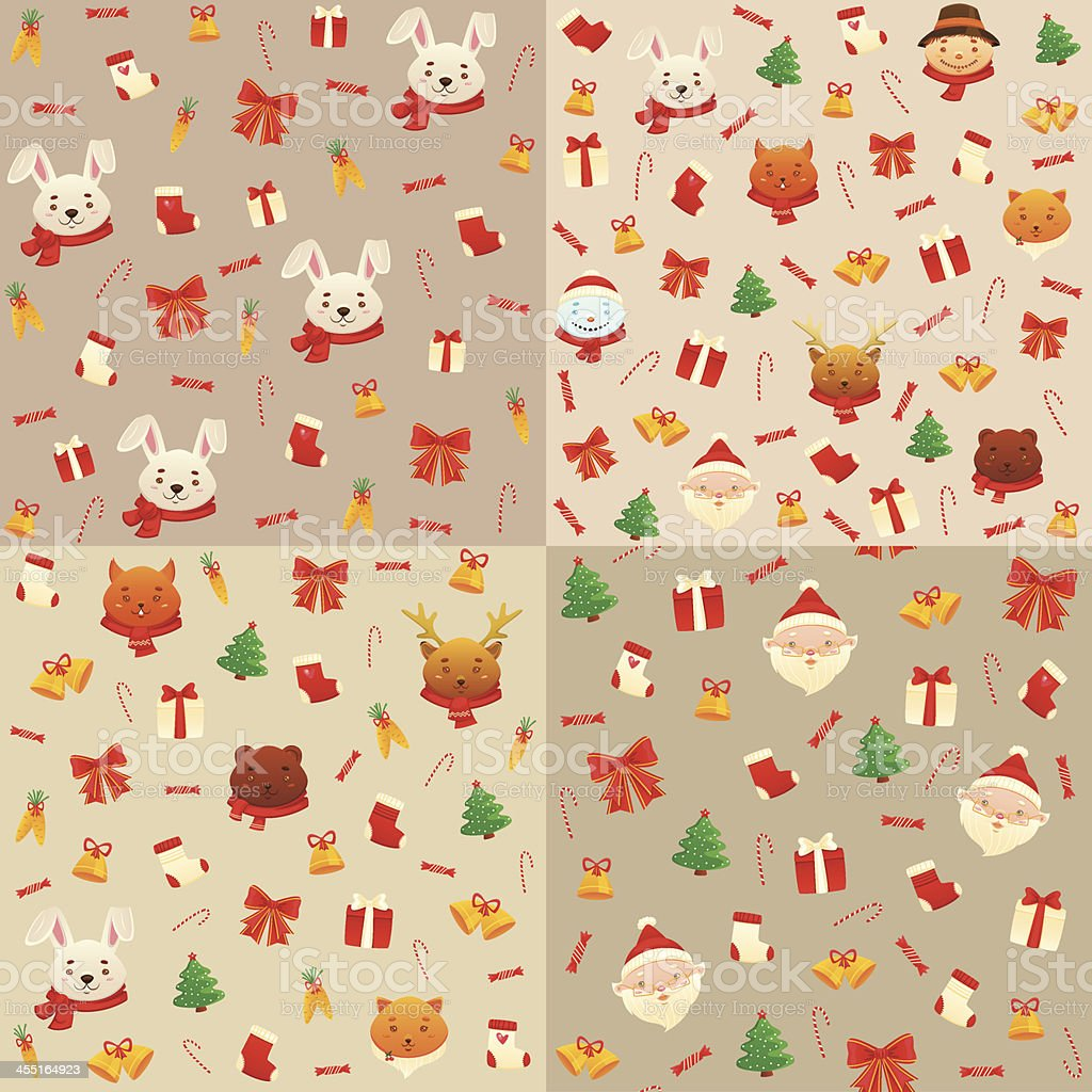 Set Christmas and New years patterns royalty-free stock vector art