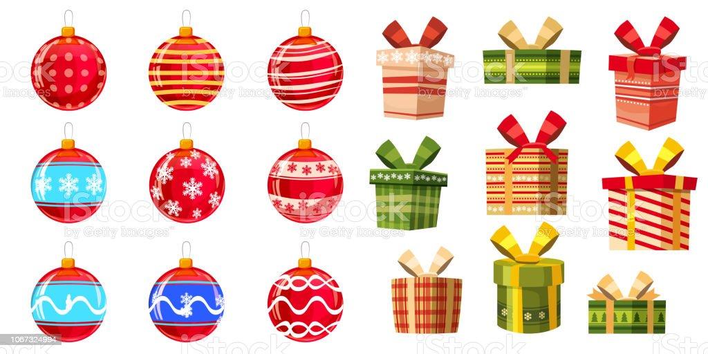 Set Cadeau Et Boules De Noël Couleurs Différentes Boîtes