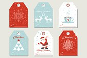 Set Christmas gift tags with snowflakes, deers, cup of tea, Santa and Christmas tree in retro style