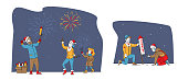Set of Christmas or New Year Holidays Fireworks Show. Happy Family Characters Mother, Father and Daughter Hold Burning Sparklers, Men Launch Festive Firework Petard. Linear People Vector Illustration