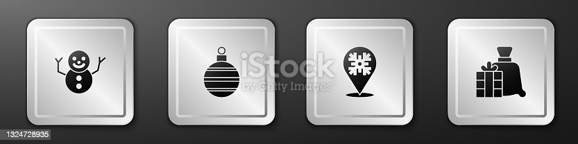 istock Set Christmas snowman, ball, Snowflake and Santa Claus bag gift icon. Silver square button. Vector 1324728935