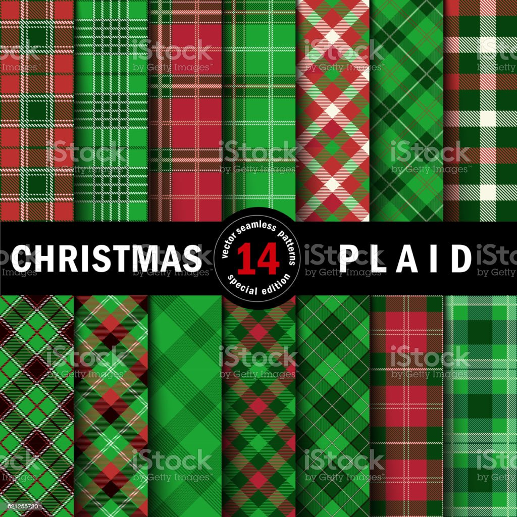 Set Christmas Tartan Seamless Patterns vector art illustration