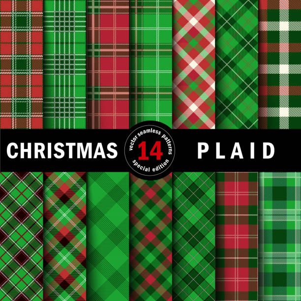 set christmas tartan seamless patterns - flannel backgrounds stock illustrations, clip art, cartoons, & icons