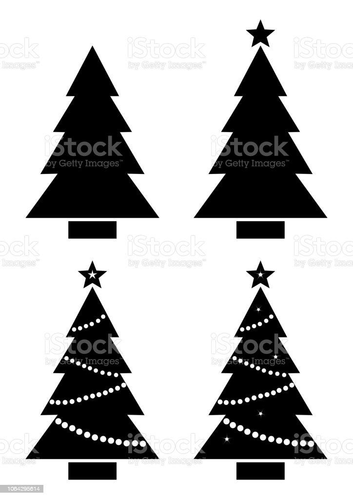 Weihnachtsbaum Schwarz.Set Weihnachtsbaum Schwarz Weiß Silhouette Vektorillustration Stock