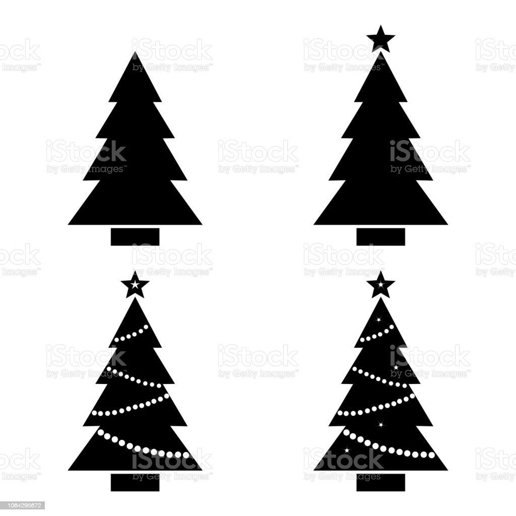 Weihnachtsbaum Schwarz Weiß.Set Weihnachtsbaum Schwarz Weiß Silhouette Vektorillustration Stock
