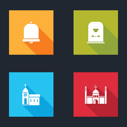 Set Church bell, Tombstone with RIP written, building and Muslim Mosque icon. Vector