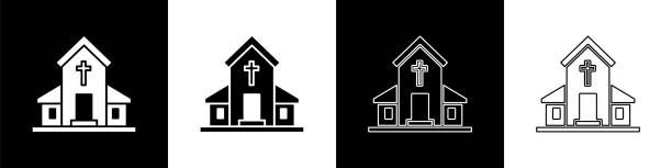 Set Church building icon isolated on black and white background. Christian Church. Religion of church. Vector Illustration Set Church building icon isolated on black and white background. Christian Church. Religion of church. Vector Illustration architecture clipart stock illustrations