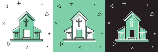 Set Church building icon isolated on white and green, black background. Christian Church. Religion of church. Vector Illustration Set Church building icon isolated on white and green, black background. Christian Church. Religion of church. Vector Illustration architecture clipart stock illustrations