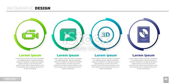 istock Set Cinema camera, Online play video, 3D word and CD disk award in frame. Business infographic template. Vector 1265028711