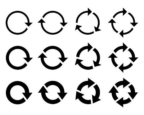 Circle arrow icon. Refresh and reload arrow icon. Rotation vector arrows set. Vector illustration