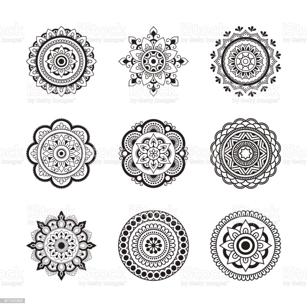 kreismuster in form von mandala gesetzt henna tattoo mandala mehndistil dekorative muster im. Black Bedroom Furniture Sets. Home Design Ideas