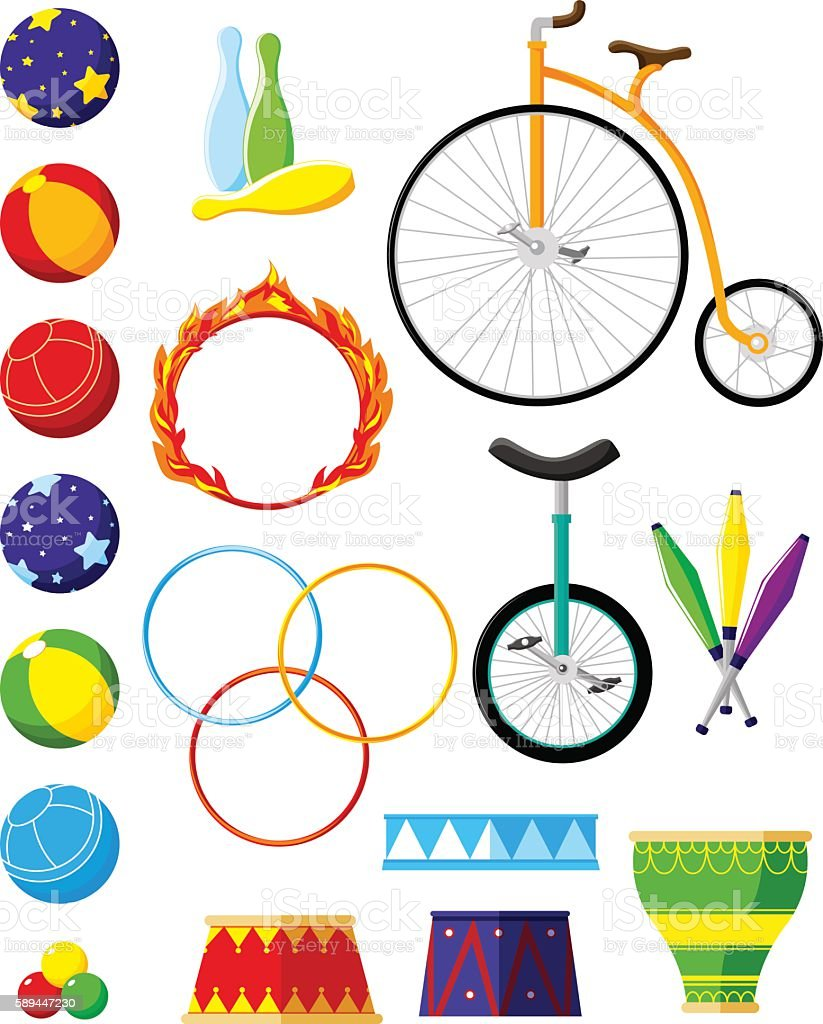 Set circus accessories: balls, hoops, skittles, cabinets, bikes, vector art illustration