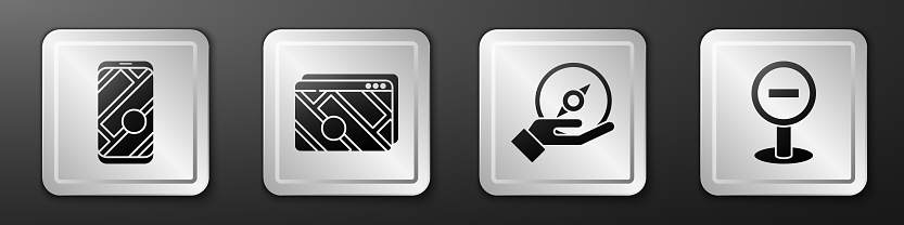 Set City map navigation, Infographic of city map navigation, Compass and Stop sign icon. Silver square button. Vector