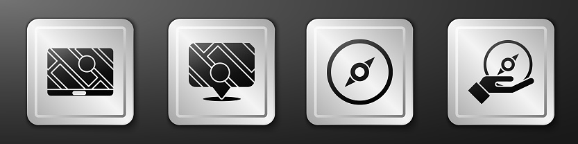 Set City map navigation, Infographic of city map navigation, Compass and Compass icon. Silver square button. Vector
