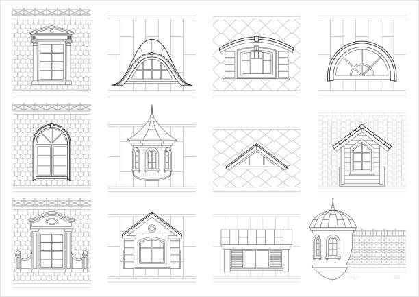 legen sie klassische dachboden windows für fassade - gesims stock-grafiken, -clipart, -cartoons und -symbole