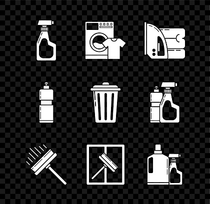 Set Cleaning spray bottle with detergent liquid, Washer and t-shirt, Electric iron towel, Squeegee, scraper, wiper, Plastic bottles for dishwashing, and Trash can icon. Vector