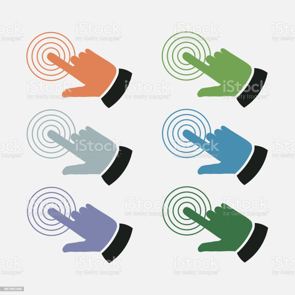 set click the icon with your finger, touch vector art illustration