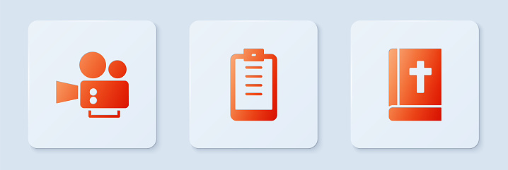 Set Clipboard with checklist, Cinema camera and Holy bible book. White square button. Vector