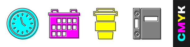 illustrations, cliparts, dessins animés et icônes de définir l'horloge, le calendrier, la tasse à café pour aller et l'icône dossiers office. vecteur - calendrier de l'avant