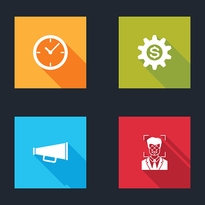Set Clock, Gear with dollar symbol, Megaphone and Face recognition icon. Vector