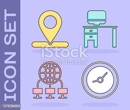 Set Clock, Location, Computer network and Computer monitor and desk icon. Vector.