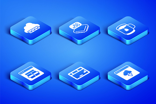 Set Cloud technology data transfer, Web development, Keyboard, MySQL code, Processor with microcircuits CPU and Cup of tea tea bag icon. Vector