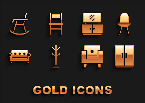 Set Coat stand, Chair, Wardrobe, Armchair, Sofa, TV table, and icon. Vector