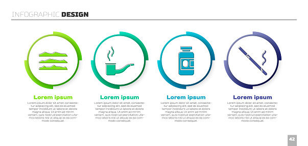 Set Cocaine or heroin drug, Smoking pipe, Medicine bottle and pills and Cigarette. Business infographic template. Vector