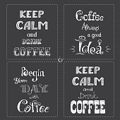 Set Coffee banner or typography,lettering hand drawn, chalkboard, gray background, stock vector illustration.