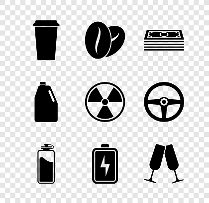 Set Coffee cup, beans, Stacks paper money cash, Sport bottle with water, Battery and Glasses champagne icon. Vector