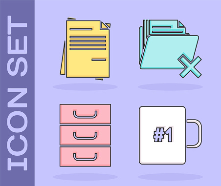 Set Coffee cup, File document, Drawer with documents and Delete folder icon. Vector