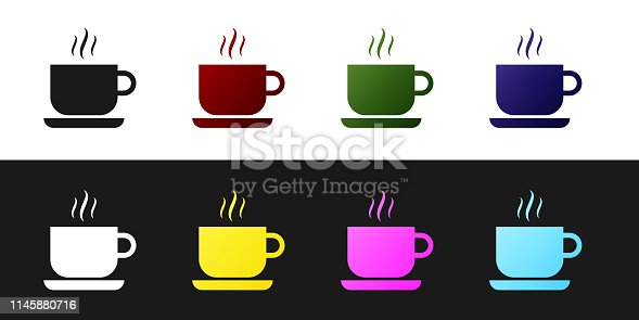 Set Coffee cup icon isolated on black and white background. Tea cup. Hot drink coffee. Vector Illustration