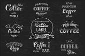 Set Coffee label,banner or typography,lettering hand drawn, chalkboard, dark background, stock vector illustration