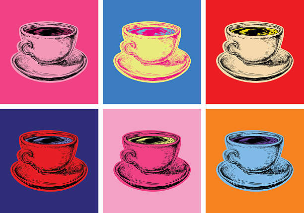set coffee mug vector illustration pop art style - modern art stock illustrations