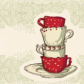 Cups on a floral background - vector artwork